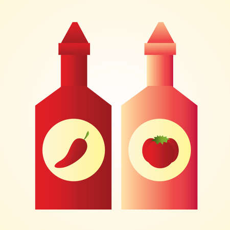 condiment: chilli and tomato condiment bottle Illustration