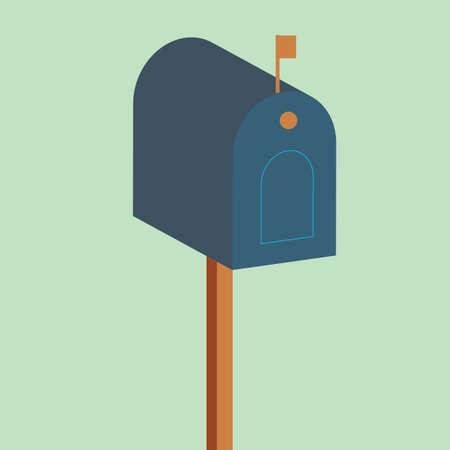 wooden post: wooden post box Illustration