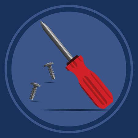 hardware repair: screwdriver with screws Illustration