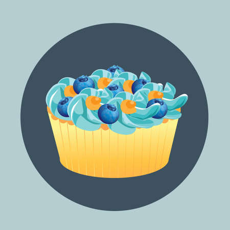 topping: cupcake with blueberries topping Illustration