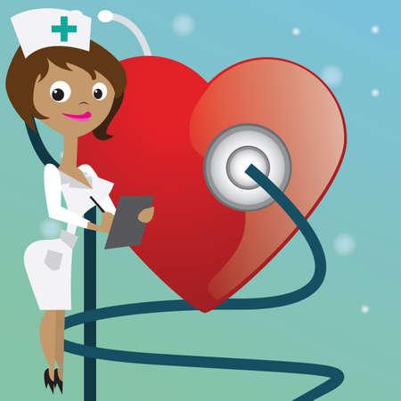 checking: nurse checking heartbeat