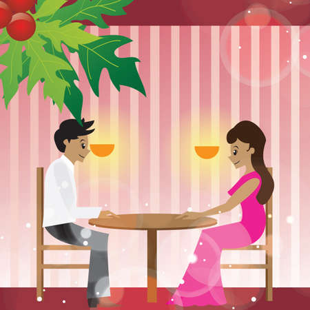 candle light: couple having candle light dinner Illustration