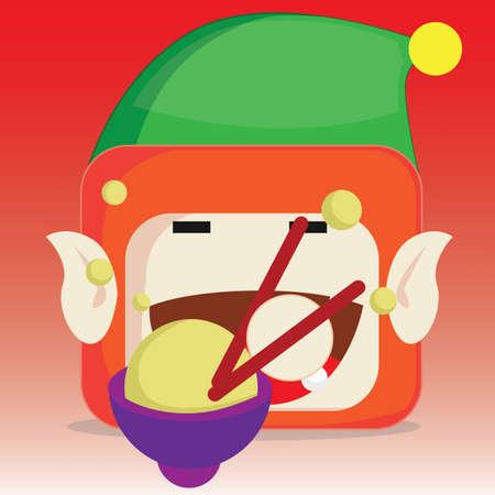 eating ice cream: elf eating ice cream Illustration