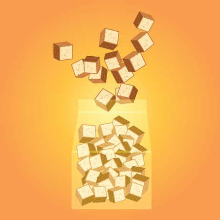 crouton: bag of croutons Illustration