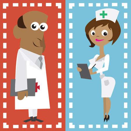 practitioner: doctor and nurse Illustration