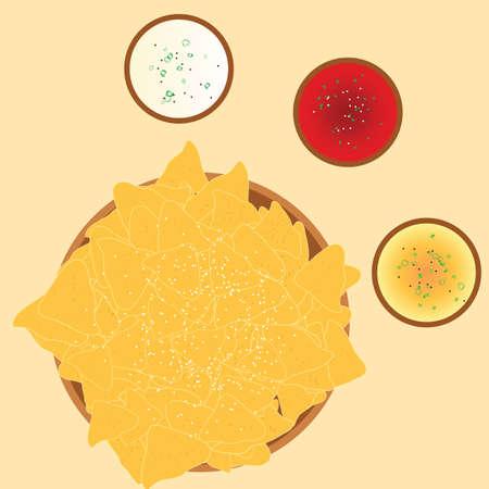 chips and condiments Ilustração