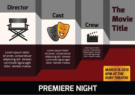 premiere: infographic of movie premiere Illustration
