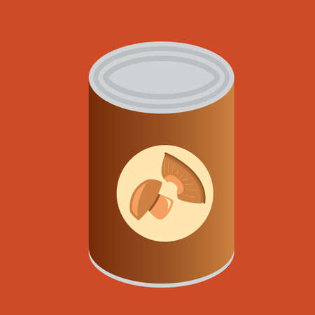 processed food: can of mushrooms Illustration