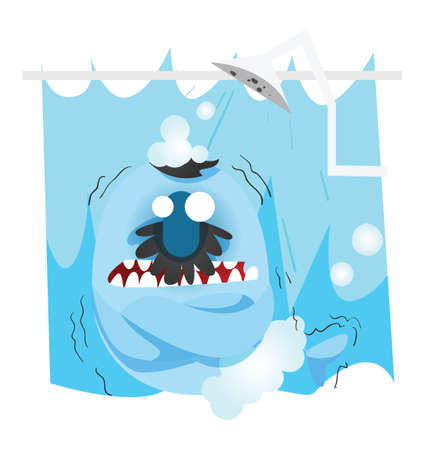 freezing: fish cartoon freezing in the shower Illustration