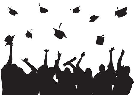 silhouette of graduated students Illustration