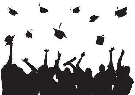graduated: silhouette of graduated students Illustration