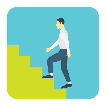 case: man climbing stair case Illustration