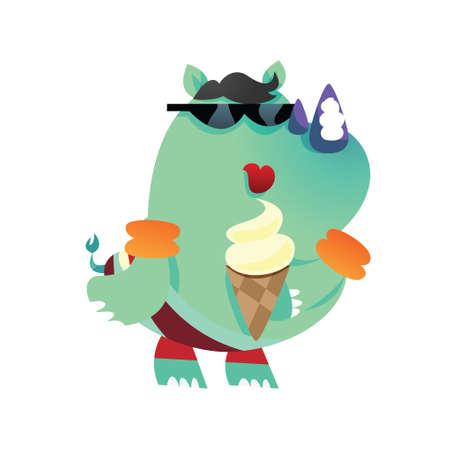 icecream cone: rhinoceros cartoon holding ice-cream cone