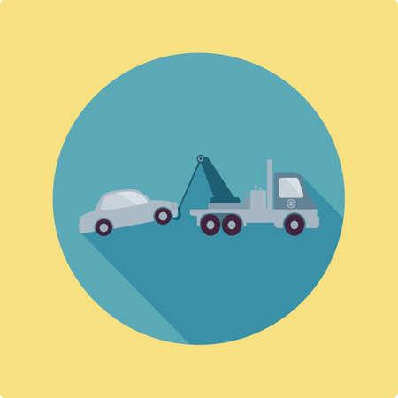 towing: crane truck towing car