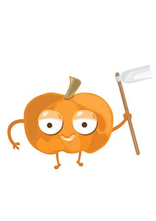 hoe: pumpkin holding gardening hoe