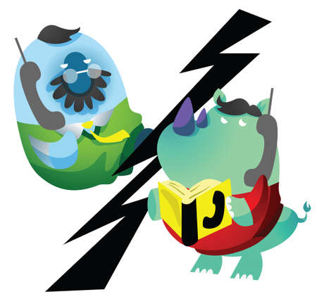 directory book: rhinoceros on the phone with fish cartoon
