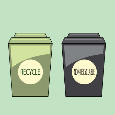 dumpster: recycle and non-recycle bins Illustration