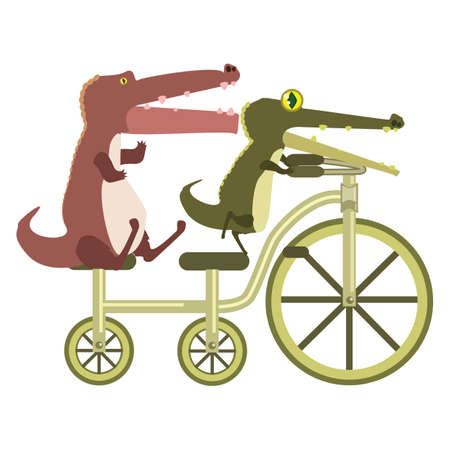 alligators: cartoon alligators are riding tandem bicycle Illustration