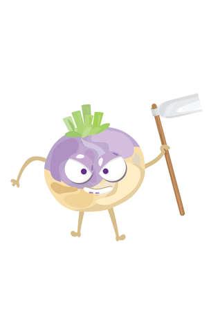 turnip: turnip holding gardening hoe