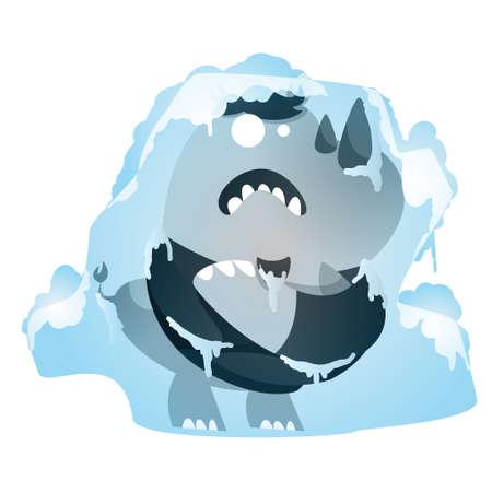Nashorn Cartoon Einfrieren