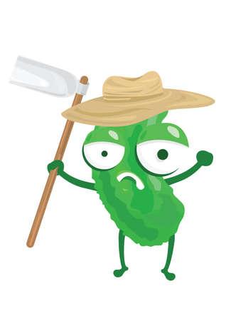 hoe: bitter gourd holding gardening hoe
