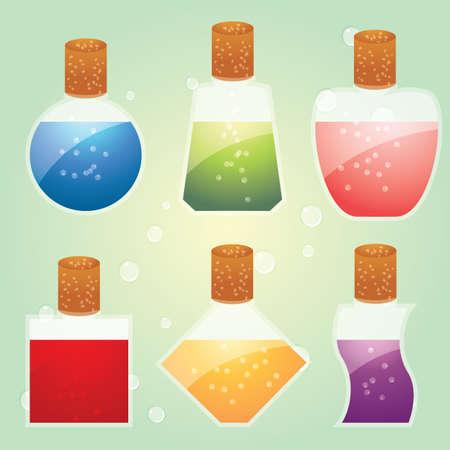 pócima: poción en botellas