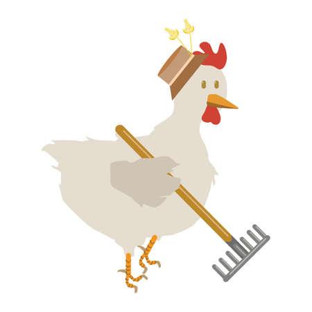raking: hen holding rake