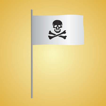 skull with crossed bones: pirate flag Illustration