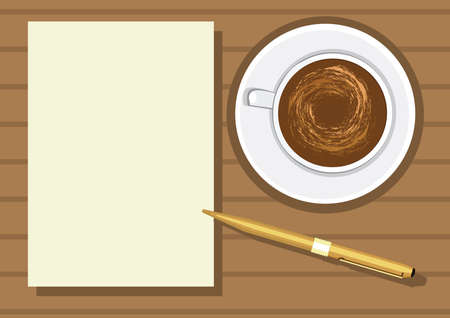 paper note: coffee with note paper and pen