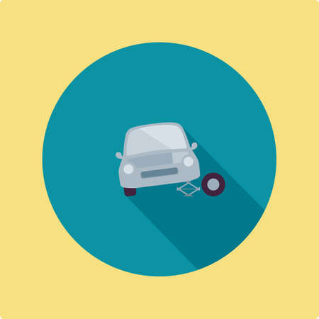 tire change: changing tyre of the car Illustration