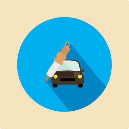spark plug: spark plug and car Illustration