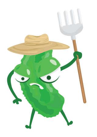 bitter: bitter gourd holding gardening fork