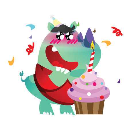 blowing: rhinoceros cartoon blowing out the candle Illustration