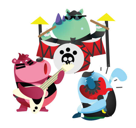 jamming: rhinoceros, bear and fish cartoon in a jamming session