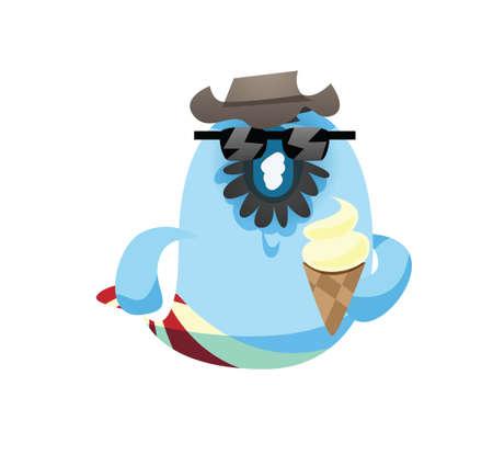 icecream cone: fish cartoon holding ice-cream cone Illustration