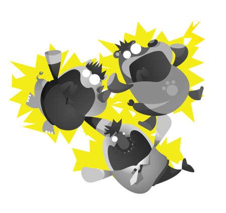 electrocuted: rhinoceros, bear and fish cartoon electrocuted