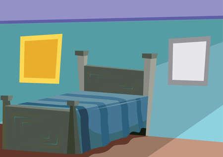 sleeping room: bedroom interior Illustration