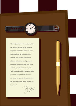 wrist hands: note with watch and pen