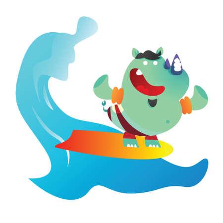 cartoon surfing: rhinoceros cartoon surfing