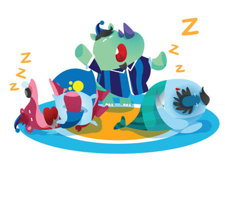 rhinoceros, bear and fish cartoon sleeping Vector Illustration