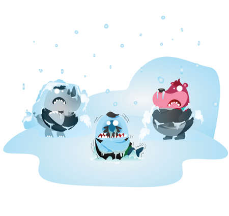 freeze: rhinoceros, bear and fish cartoon freezing in the cold