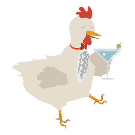 wineglass: hen holding wineglass