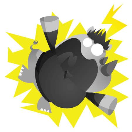 electrocuted: electrocuted rhinoceros cartoon