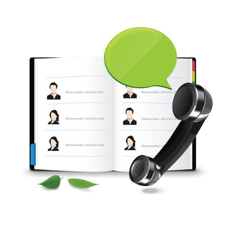 address book: phone with address book and chat bubble