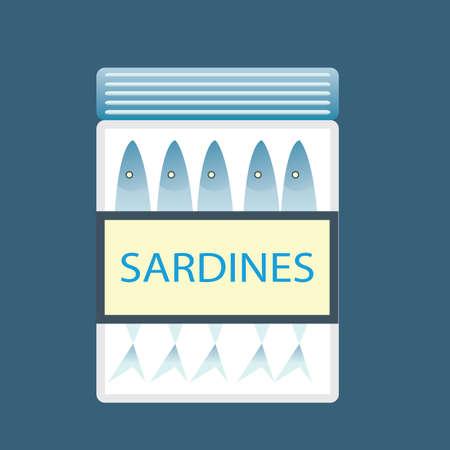 sardines: sardines in a jar Illustration