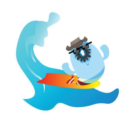 cartoon surfing: fish cartoon surfing