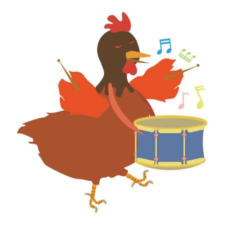 quaver: hen with drum Illustration