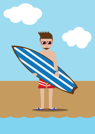 sea side: man with surfboard