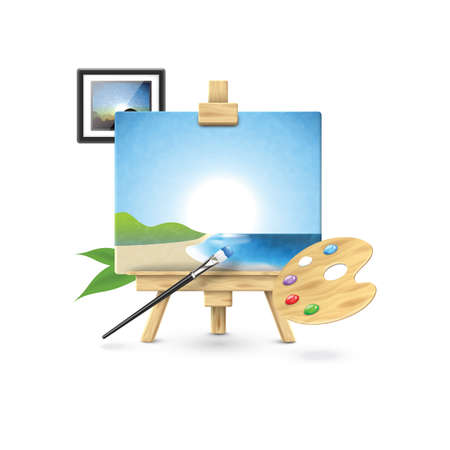 easel with palette and photo frame