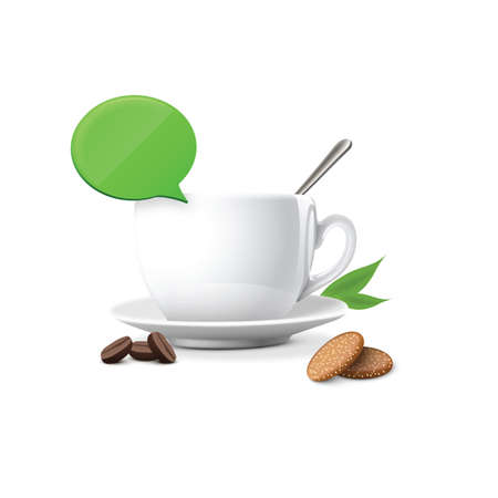 chat bubble: coffee with cookies and chat bubble